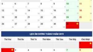 Lịch nghỉ lễ 2/9 2019 chính thức